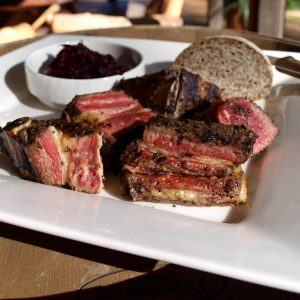 Beef spare ribs with beetroot relish