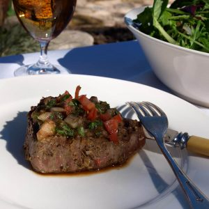 Lemon rub steak with tomato salsa